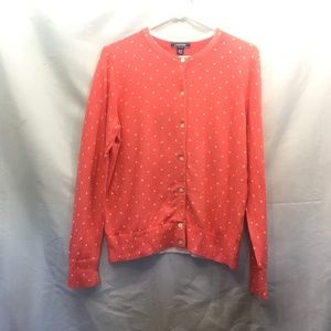 Land's End Size M Pink Polka Dotted Cardigan